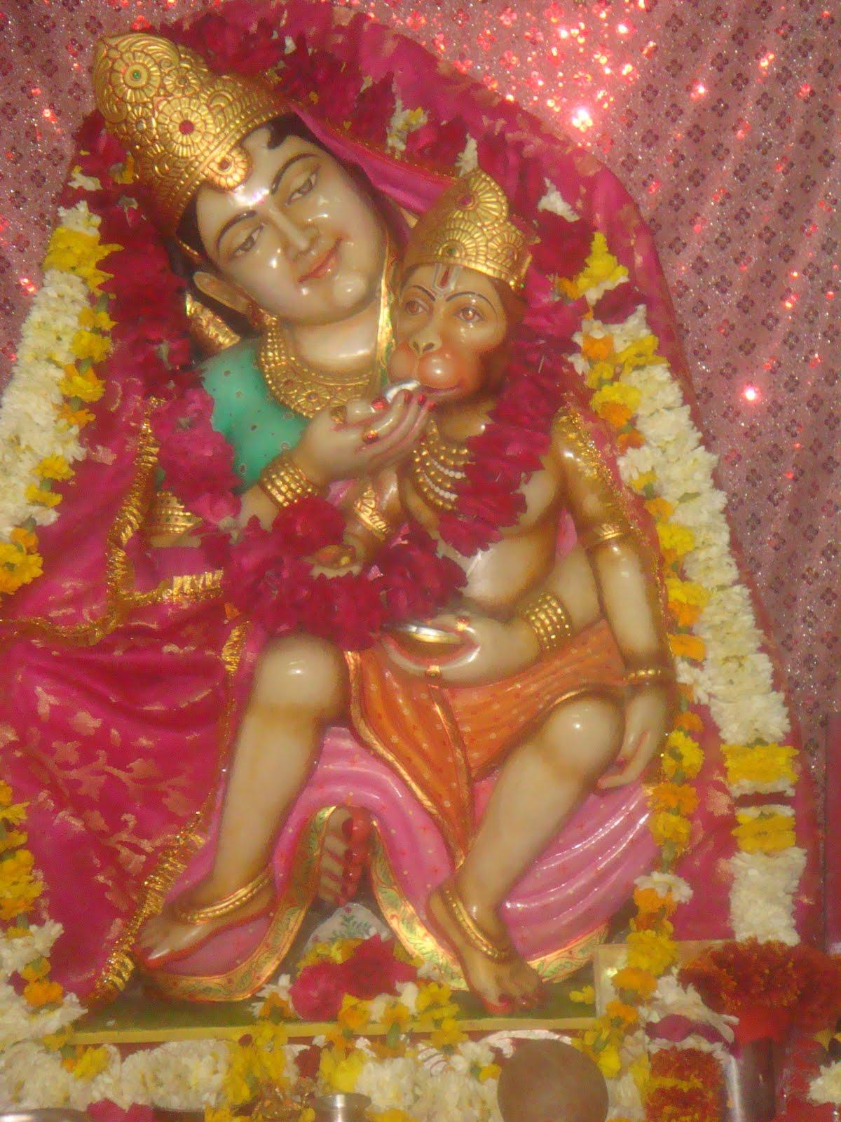Hanuman in lap of maa Anjani